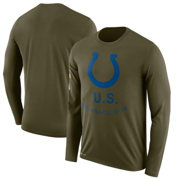 Men's Indianapolis Colts Olive Legend 2018 Salute to Service Sideline Performance Long Sleeve T-Shirt By Nike